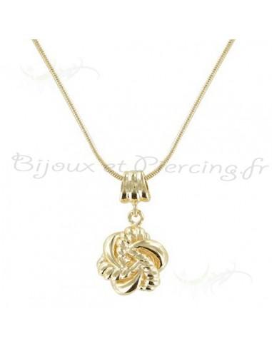 Collier plaqué or maille serpent et étoile