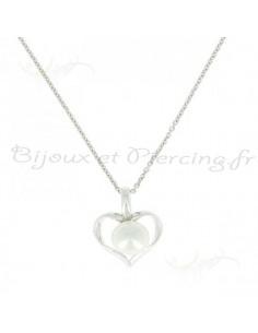 Collier argent coeur et perle