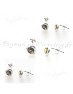 Puces d'oreilles ambre naturel et argent