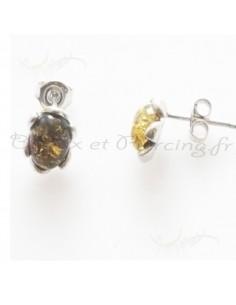Puces d'oreilles ambre naturel et argent fleur