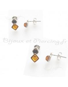 Boucles d'oreilles ambre cognac sur argent en carré