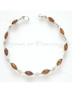 bracelet ambre et argent pierre de lune