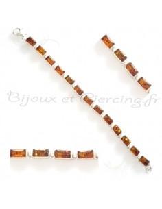 Bracelet entrecroisé d'ambre cognac et d'argent
