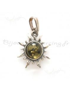 pendentif en argent et ambre véritable de la mer baltique soleil