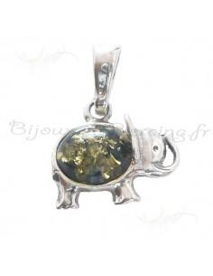 Elephant en pendentif, ambre et argent