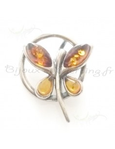 pendentif en ambre et papillon d'argent ciselée