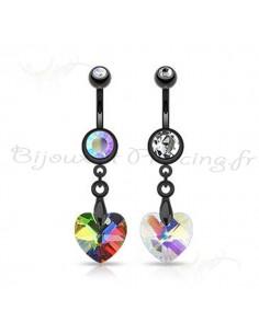 Piercing nombril pendentif noir et coeur