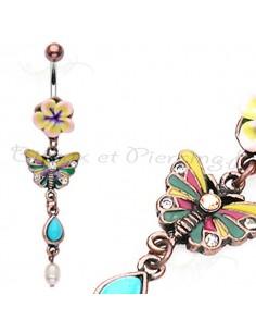 Piercing nombril papillon et fleur coloré