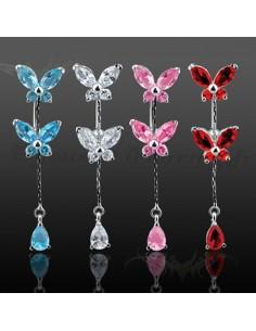 Piercing inversé papillon et gemmes