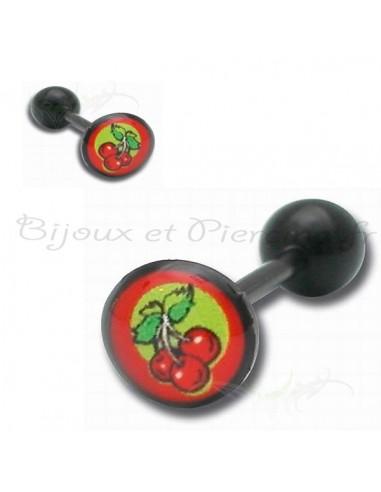 Piercing logo cerise - barbell de langue