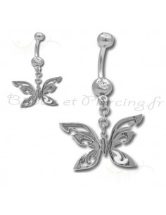 Piercing nombril papillon metallique
