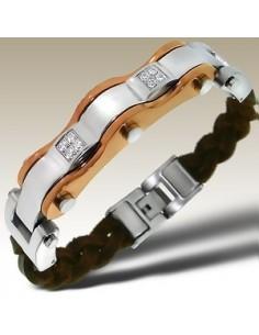 Bracelet en cuir véritable couleur cuivre