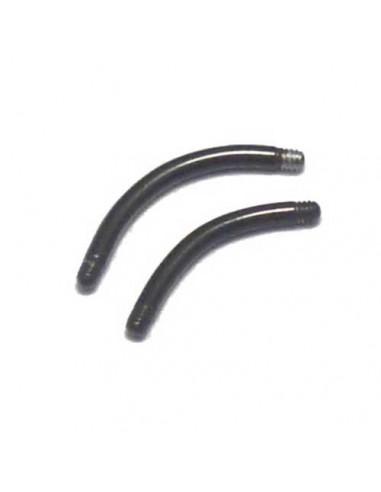 Barre de piercing micro banane black stell ou acier noir en 1.2 mm