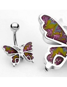 Piercing nombril papillon pourpre