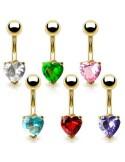 Piercing coeur plaqué or original