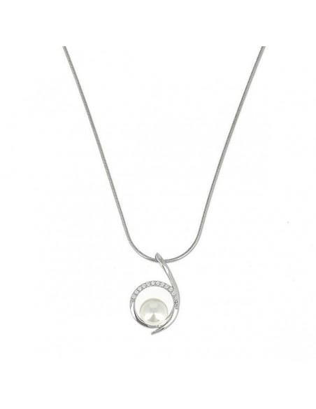 Collier en argent 925. - pendentif orné d'une pierre zirconium.