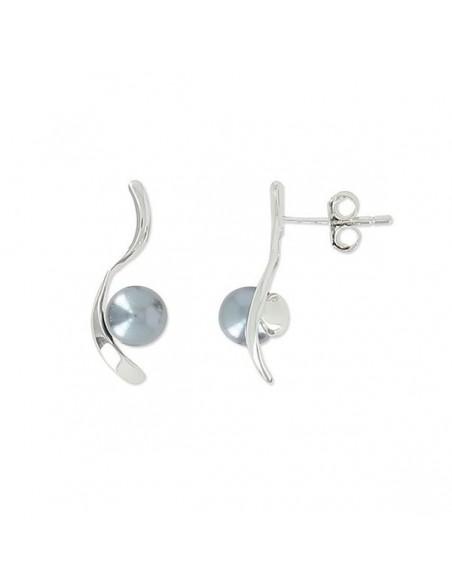Boucles oreilles argent monter de perle grise