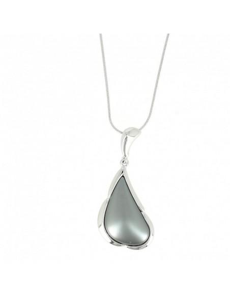 Collier métal argenté en forme géométrique