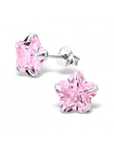 Boucles d'oreilles argent et fleur en cristal