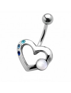 Piercing nombril coeur de perle