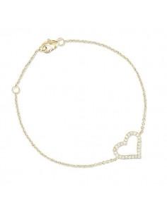 Bracelet plaqué or Coeur brillant