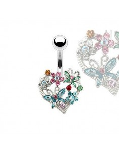 Piercing nombril couronne de coeur