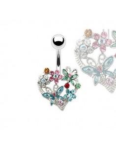 Piercing nombril couronne de coeur