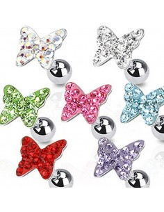 Piercing cartilage papillon et strass