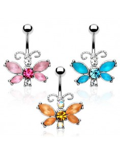 Piercing nombril papillon luisant