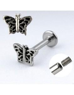 Piercing labret acier papillon ajouré