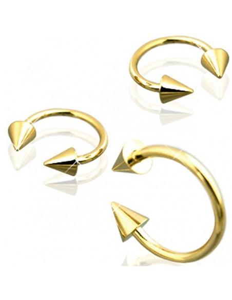 Piercing Circulaire or - bijou arcade avec Cones Dore or fin