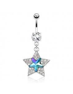 Piercing nombril pendentif étoile scintillante