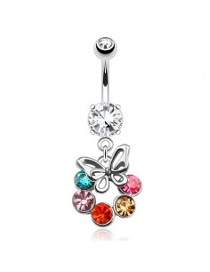 Piercing nombril papillon encerclé de strass