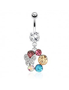 Piercing nombril papillon couronne de strass