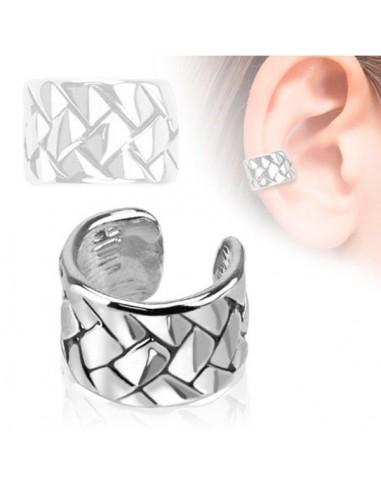 Faux bijou oreille acier entrelacés