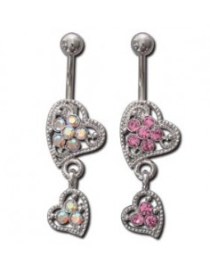 Piercing nombril acier pendentif deux coeur en anneau