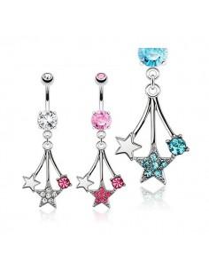 Piercing nombril étoiles en pendentifs