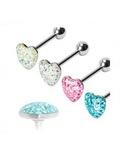 Piercing langue serti de cristaux forme de coeur