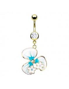 Piercing nombril fleur et opale