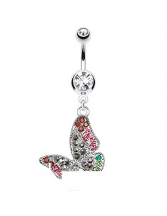 Piercing nombril papillon multi zircons