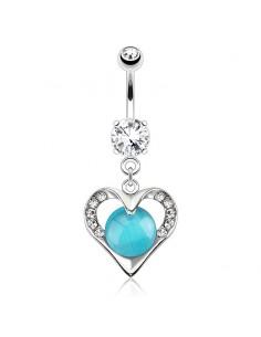 Piercing nombril coeur empierré turquoise