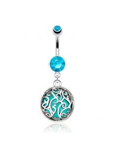 Médaillon turquoise piercing nombril