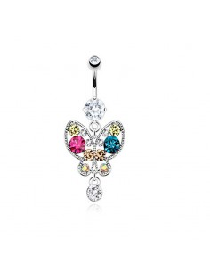 Piercing nombril papillon zircon colorés