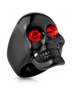 Bague tête de mort couleur noire aux yeux rouges