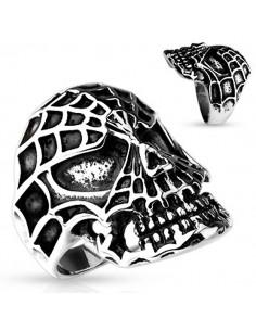 Bague tête de mort spiderman araignée