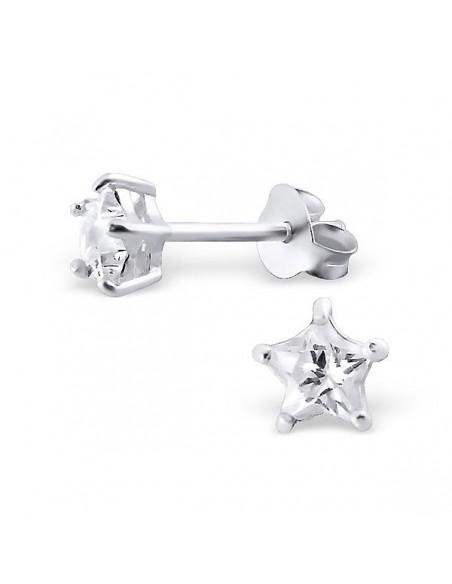 Boucles d'oreilles argent étoile translucide