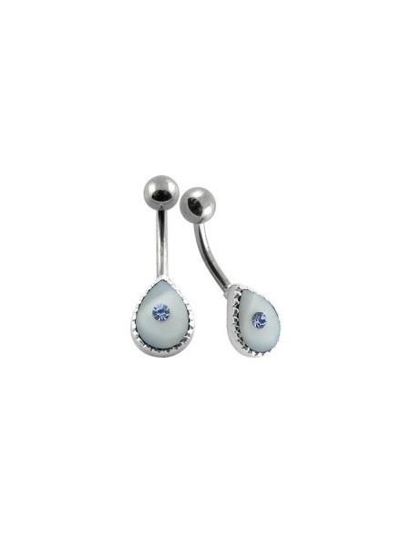 Bijoux de nombril feminin argent et perle
