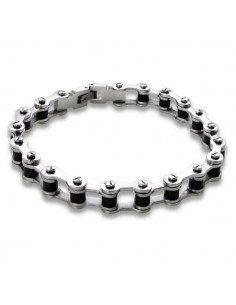 Bracelet homme acier noir et argenté