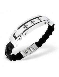 Bracelet cuir tressé et plaque tungsténe