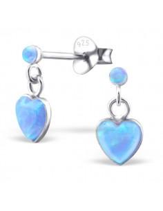 Boucles d'oreilles pendantes argent et petit coeur